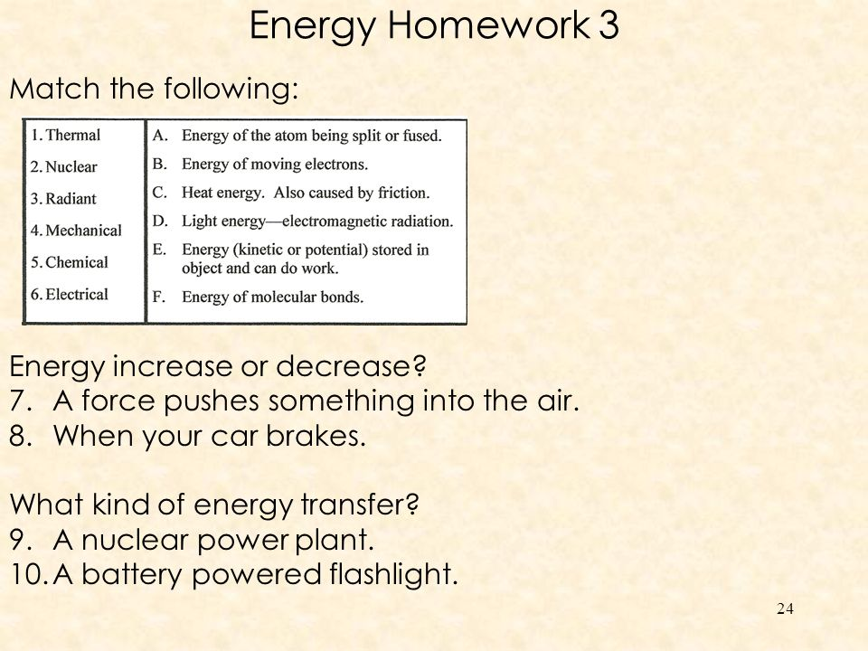 Conservation of energy in your body.1.