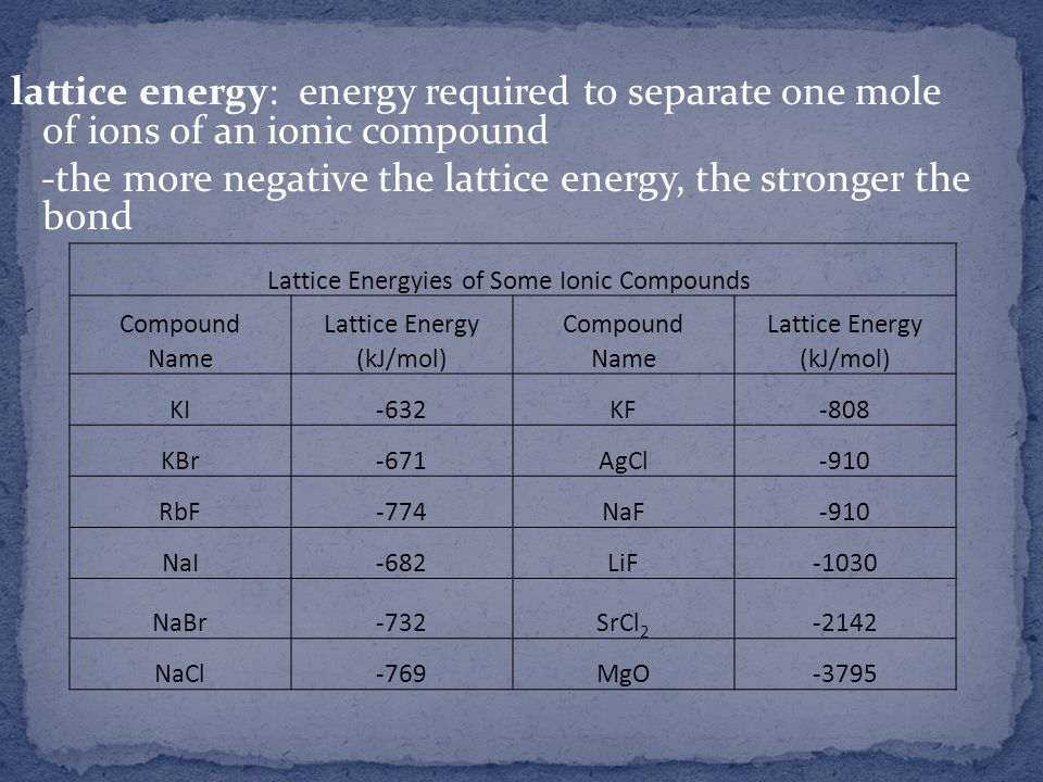 lattice energy: energy required to separate one mole of ions of an ionic compound -the more negative the lattice energy, the stronger the bond Lattice