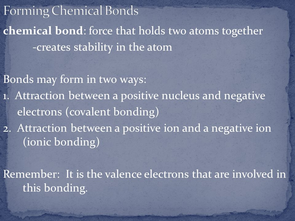 chemical bond: force that holds two atoms together -creates stability in the atom Bonds may form in two ways: 1. Attraction between a positive nucleus