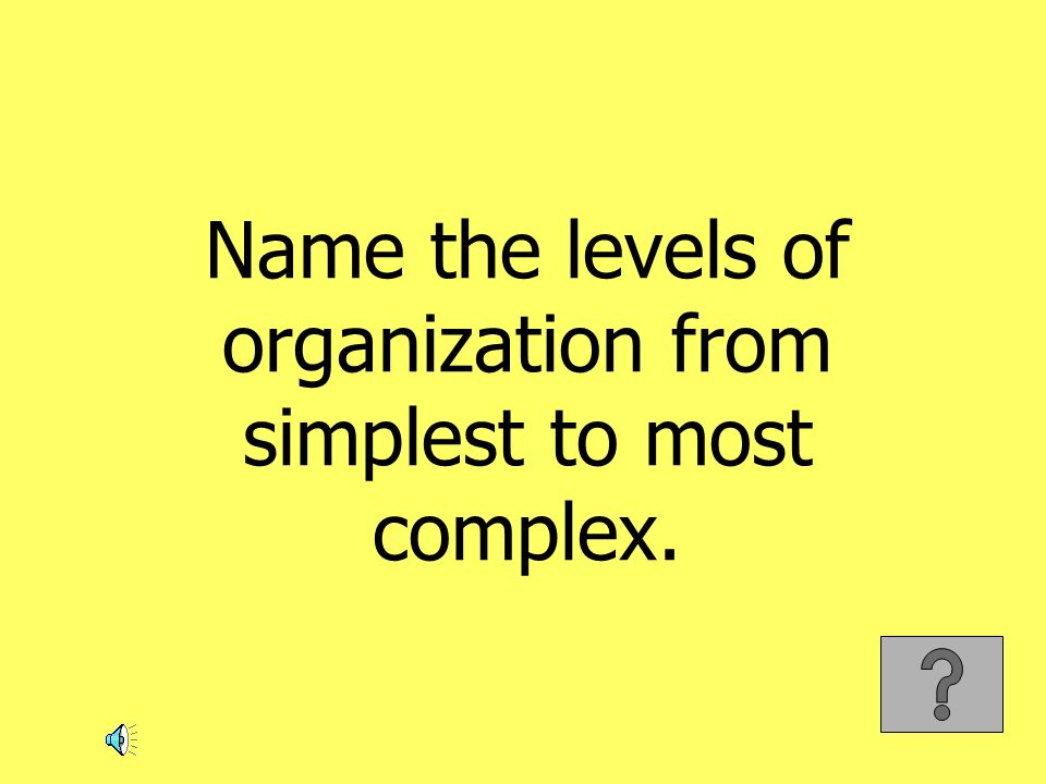 Name the levels of organization from simplest to most complex.