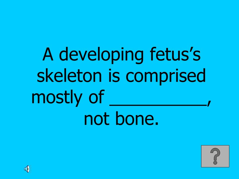 A developing fetuss skeleton is comprised mostly of __________, not bone.