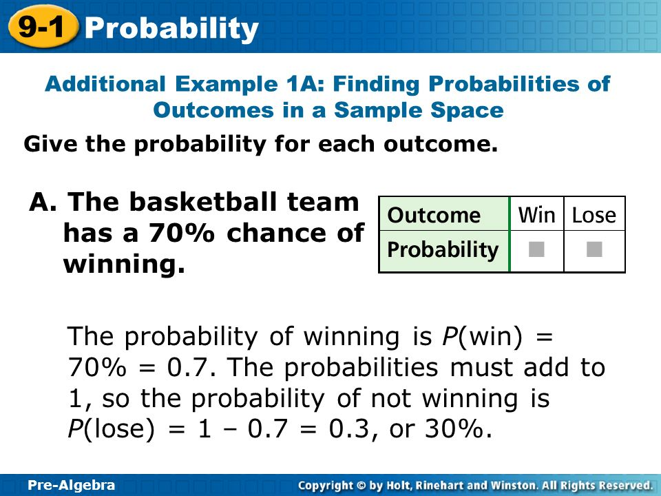Pre-Algebra 9-1 Probability Give the probability for each outcome. Additional Example 1A: Finding Probabilities of Outcomes in a Sample Space A. The b