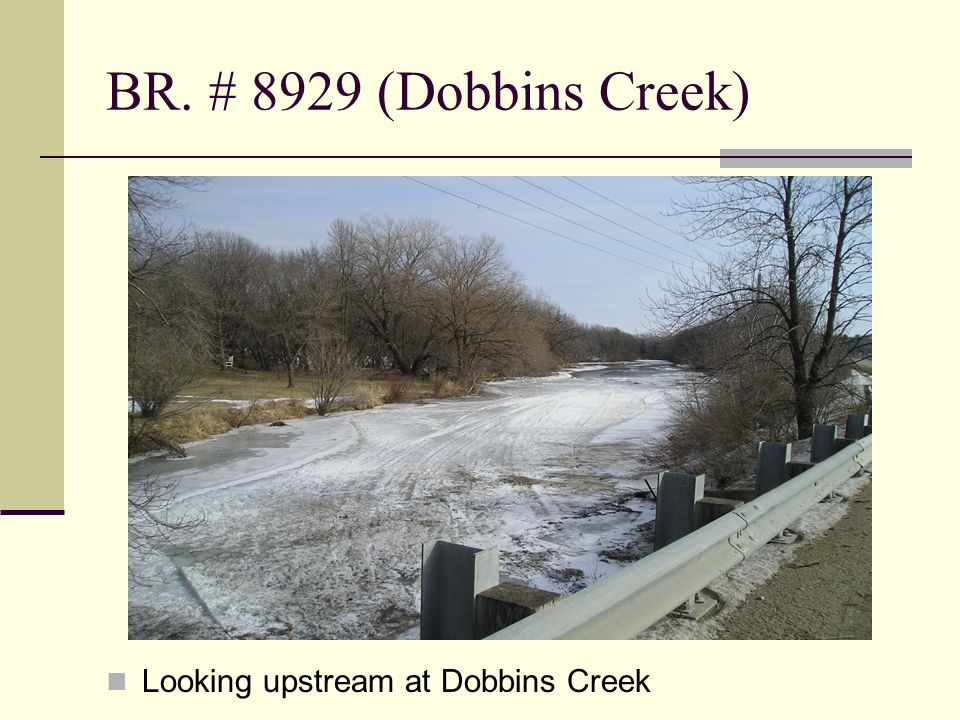 BR. # 8929 (Dobbins Creek) Looking upstream at Dobbins Creek