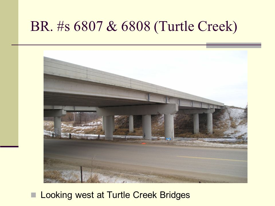 BR. #s 6807 & 6808 (Turtle Creek) Looking west at Turtle Creek Bridges