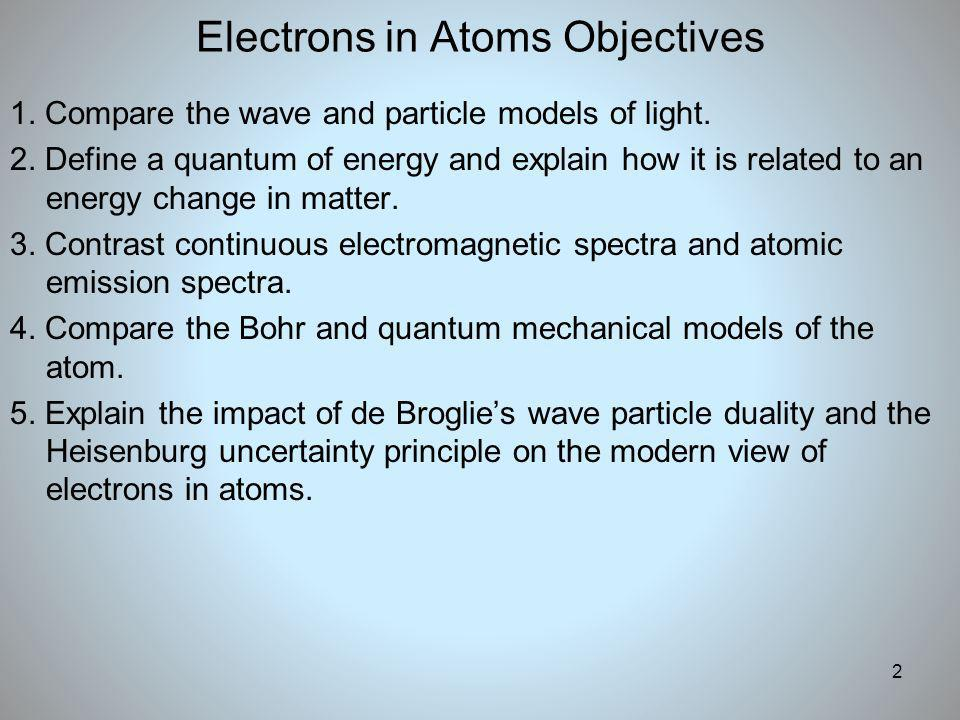 2 Electrons in Atoms Objectives 1. Compare the wave and particle models of light. 2. Define a quantum of energy and explain how it is related to an en