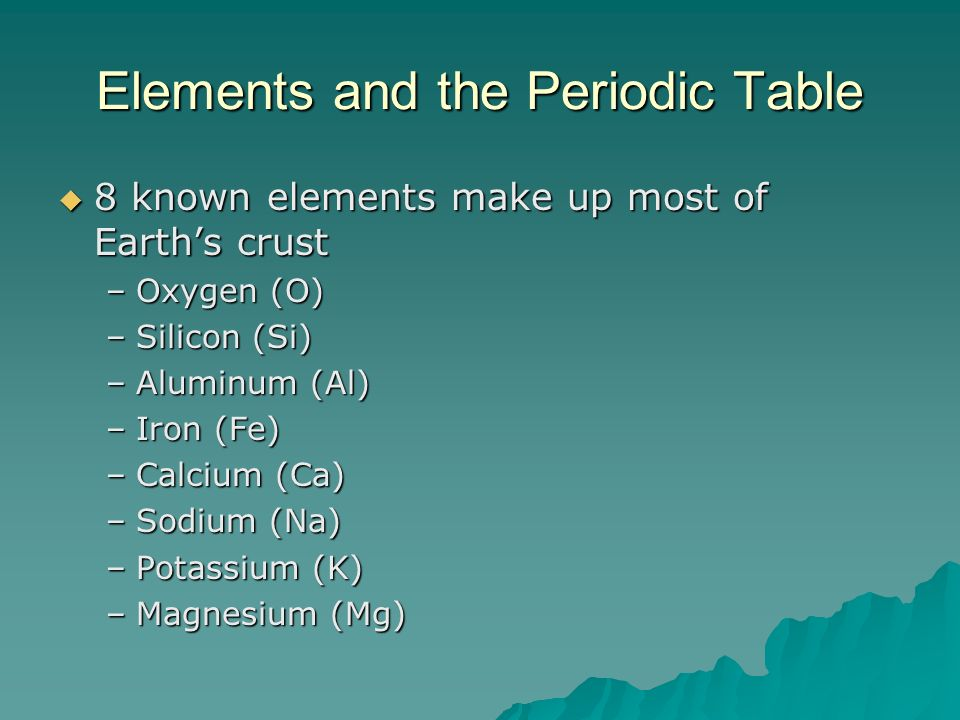 Elements and the Periodic Table 8 known elements make up most of Earths crust 8 known elements make up most of Earths crust –Oxygen (O) –Silicon (Si)