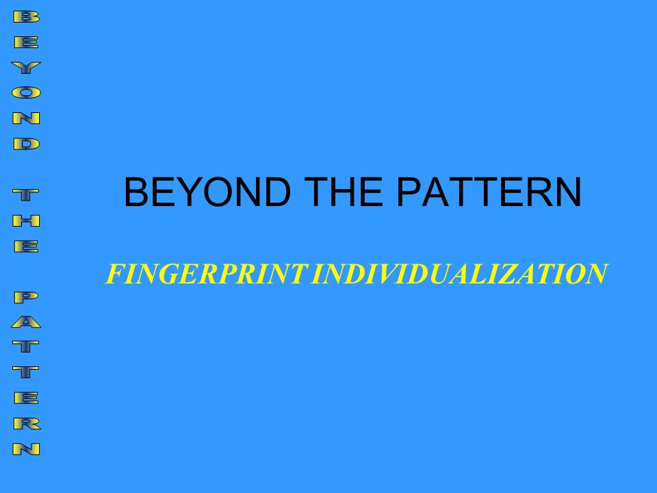 BEYOND THE PATTERN FINGERPRINT INDIVIDUALIZATION