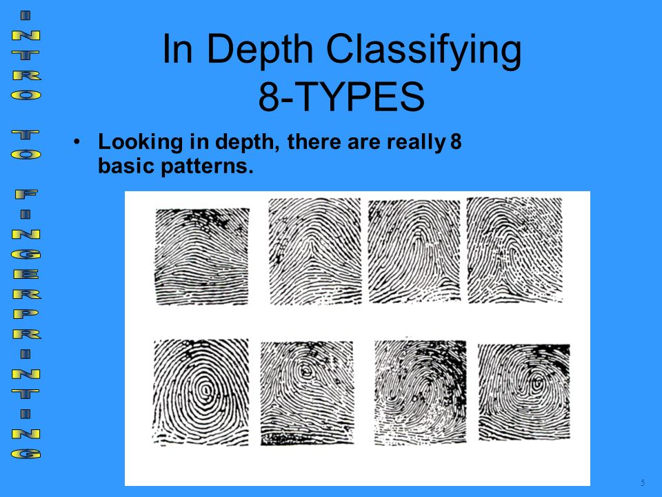 In Depth Classifying 8-TYPES Looking in depth, there are really 8 basic patterns. 5
