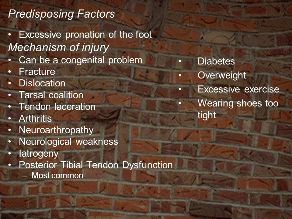 Predisposing Factors Excessive pronation of the foot Mechanism of injury Can be a congenital problem Fracture Dislocation Tarsal coalition Tendon lace