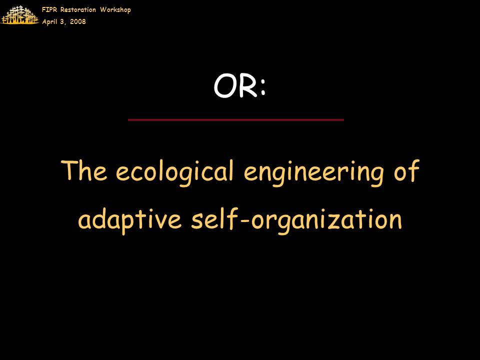 FIPR Restoration Workshop April 3, 2008 OR: The ecological engineering of adaptive self-organization