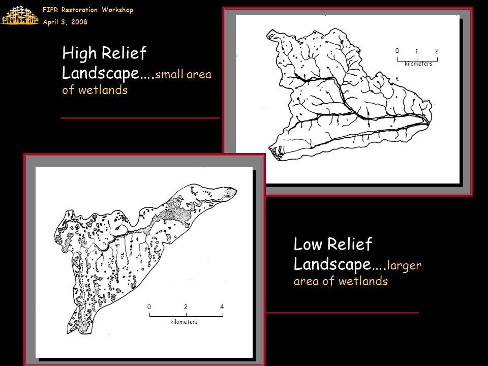 FIPR Restoration Workshop April 3, 2008 0 1 2 kilometers 0 2 4 High Relief Landscape….