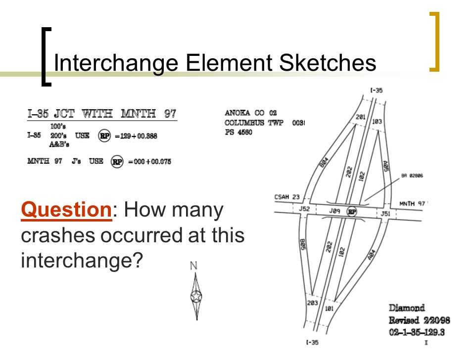 Interchange Element Sketches Question: How many crashes occurred at this interchange?