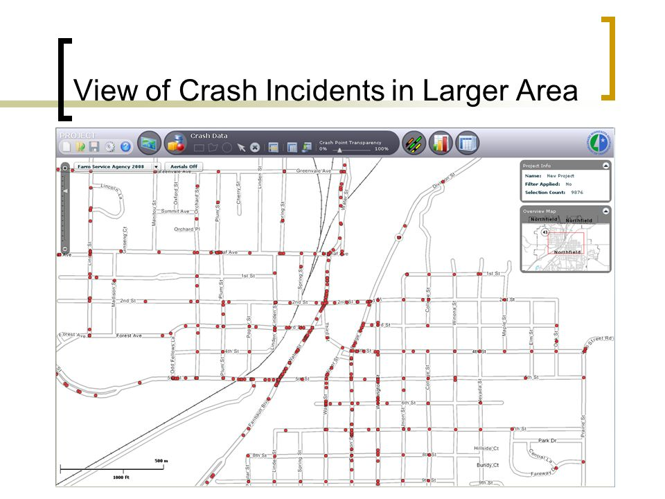 View of Crash Incidents in Larger Area