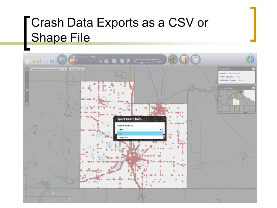 Crash Data Exports as a CSV or Shape File