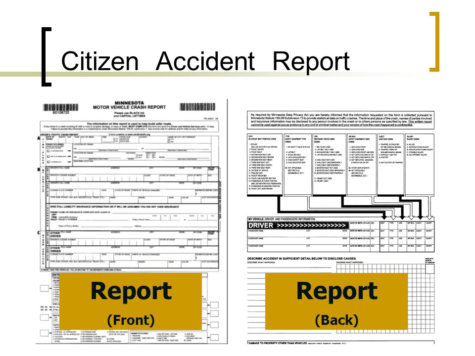 Citizen Accident Report Report (Front) Report (Back)