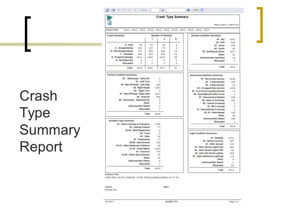 Crash Type Summary Report
