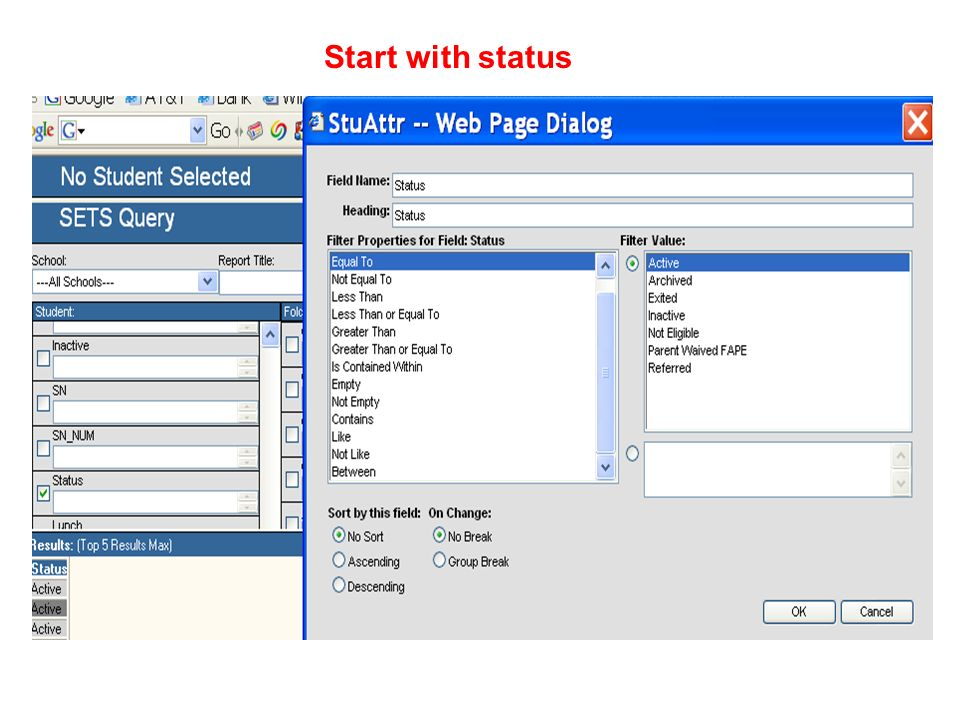 Start with status