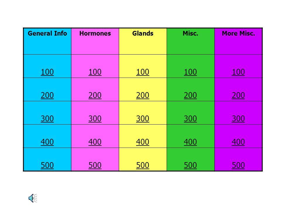 General InfoHormonesGlandsMisc.More Misc. 100 200 300 400 500