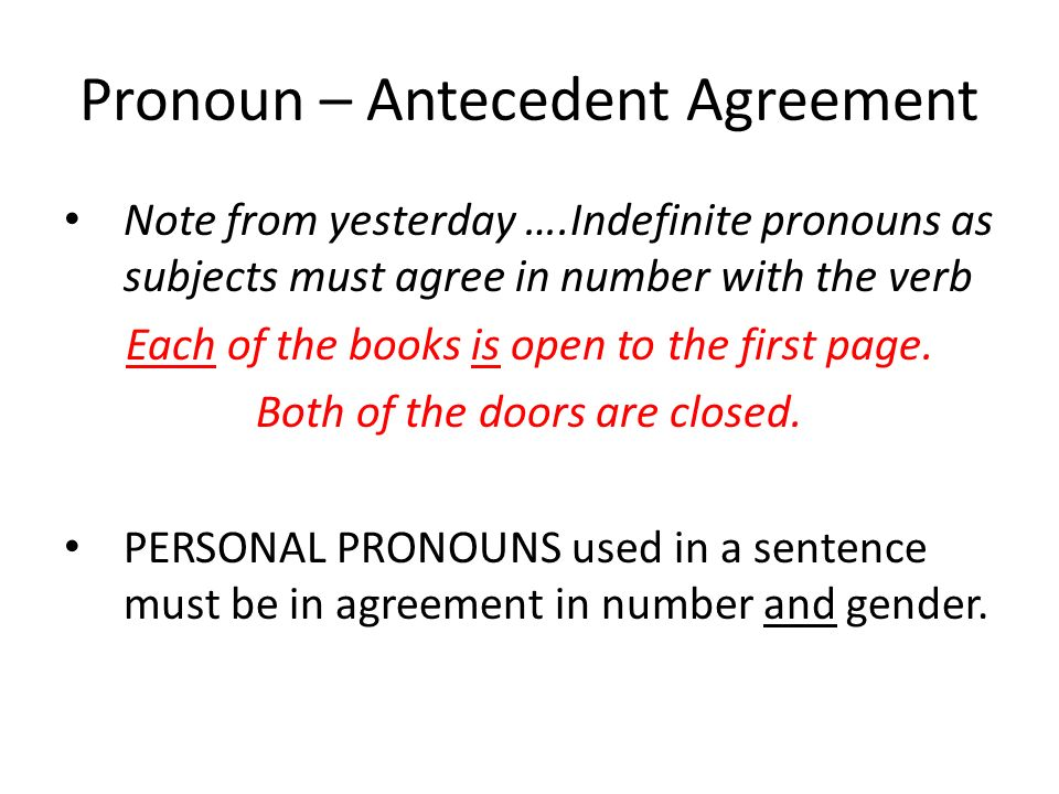 Pronoun – Antecedent Agreement Note from yesterday ….Indefinite pronouns as subjects must agree in number with the verb Each of the books is open to t