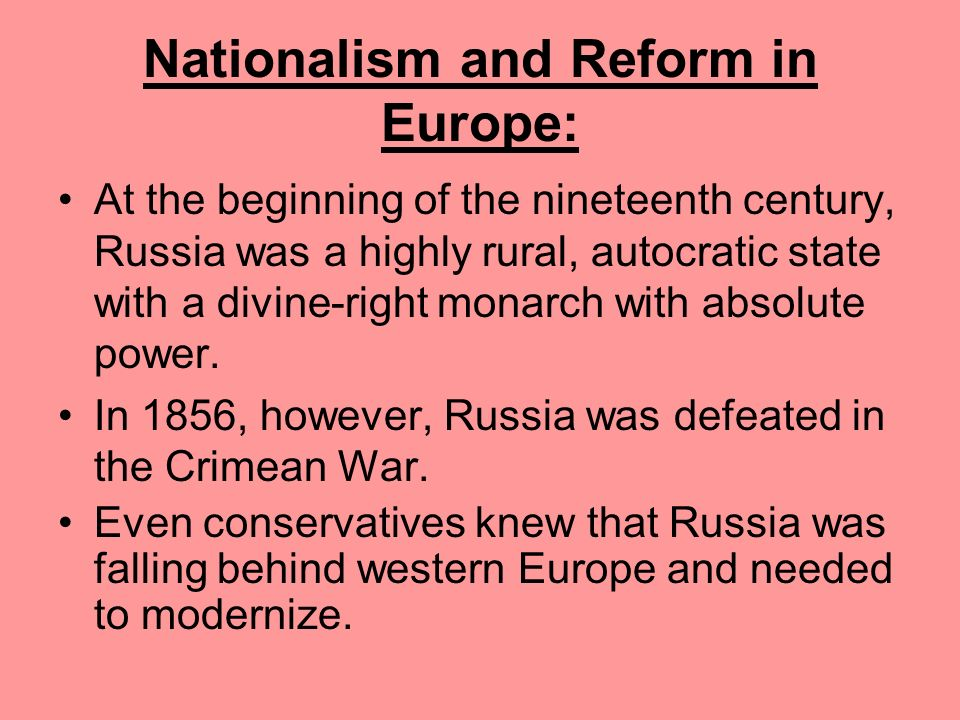 Nationalism and Reform in Europe: Holding the two states together was a single monarch (Francis Joseph), a common army, foreign policy, and a shared f