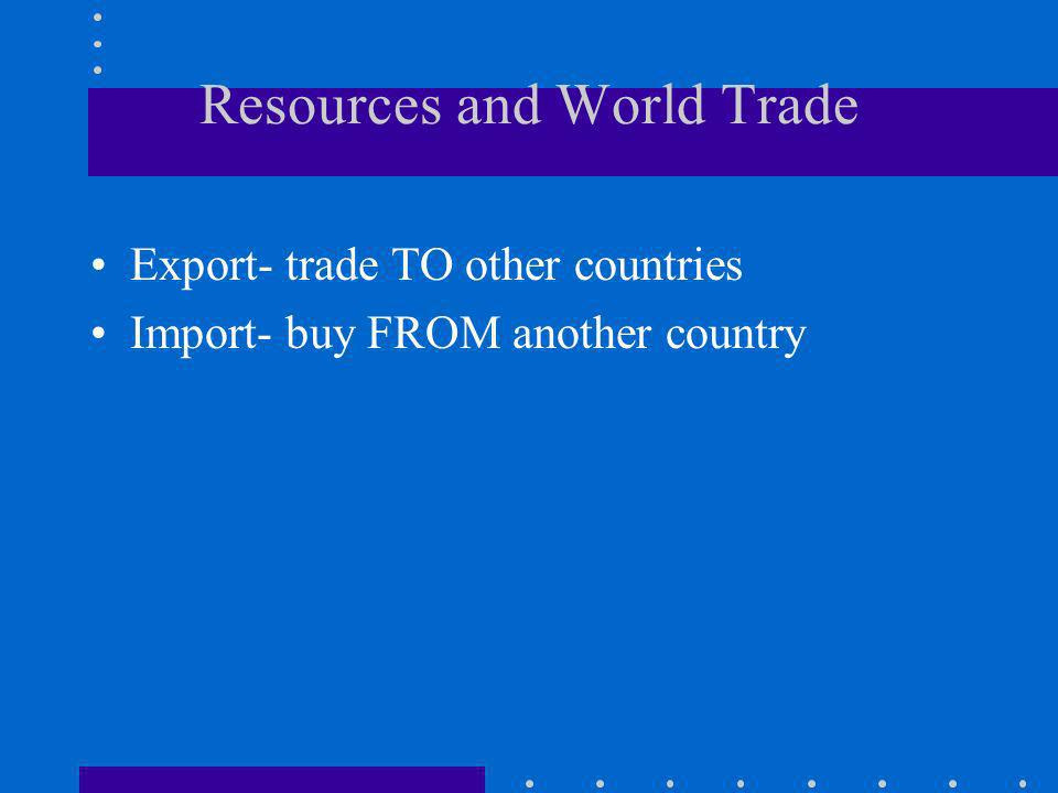 Resources and World Trade Export- trade TO other countries Import- buy FROM another country