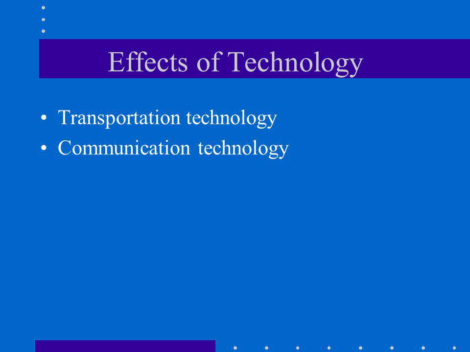Effects of Technology Transportation technology Communication technology