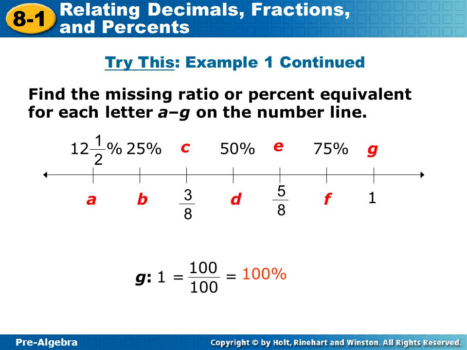 Pre-Algebra 8-1 Relating Decimals, Fractions, and Percents Try This: Example 1 Continued g:g:1 = 100 = 100% Find the missing ratio or percent equivale