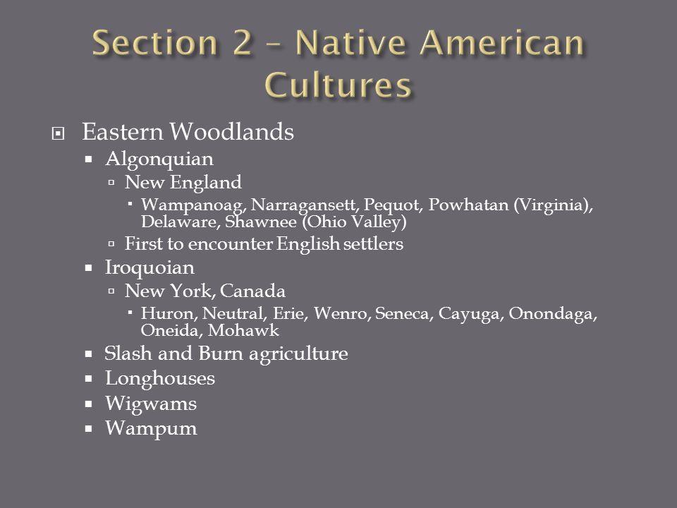 Eastern Woodlands Algonquian New England Wampanoag, Narragansett, Pequot, Powhatan (Virginia), Delaware, Shawnee (Ohio Valley) First to encounter Engl