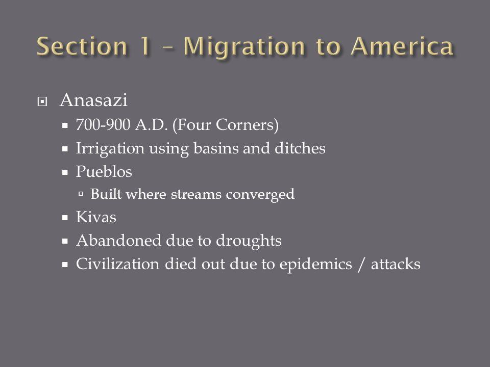 Anasazi 700-900 A.D. (Four Corners) Irrigation using basins and ditches Pueblos Built where streams converged Kivas Abandoned due to droughts Civiliza