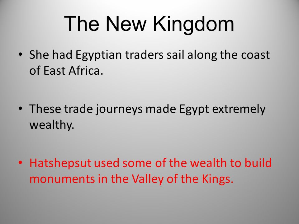 The New Kingdom She had Egyptian traders sail along the coast of East Africa. These trade journeys made Egypt extremely wealthy. Hatshepsut used some