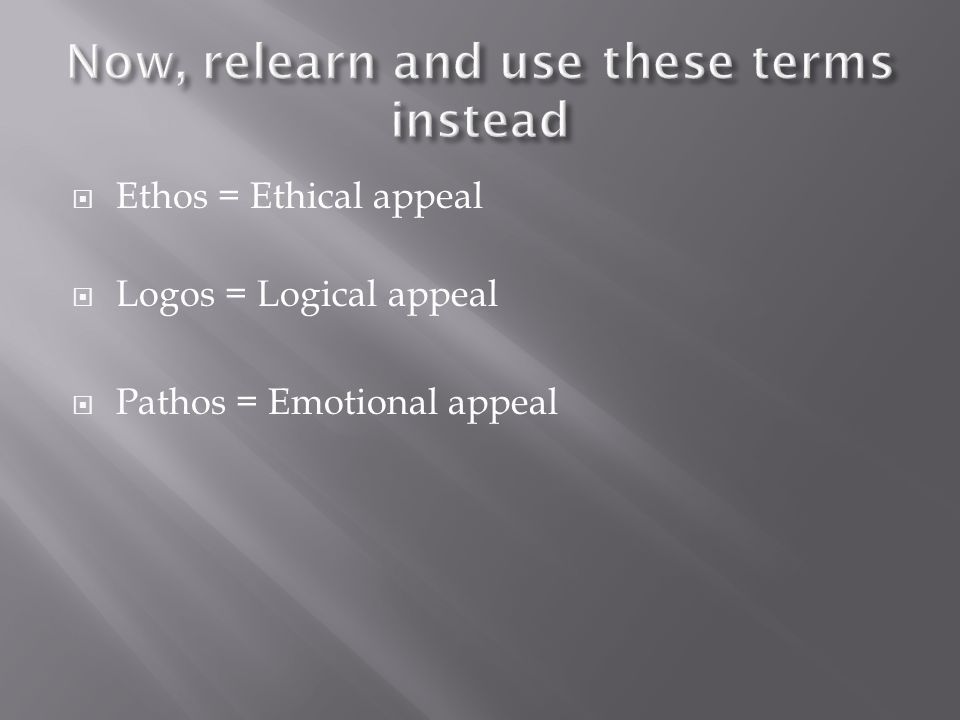 Ethos = Ethical appeal Logos = Logical appeal Pathos = Emotional appeal