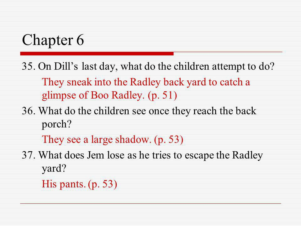 Chapter 6 35. On Dills last day, what do the children attempt to do? They sneak into the Radley back yard to catch a glimpse of Boo Radley. (p. 51) 36