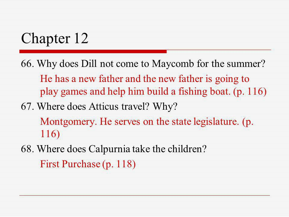 Chapter 12 66. Why does Dill not come to Maycomb for the summer? He has a new father and the new father is going to play games and help him build a fi