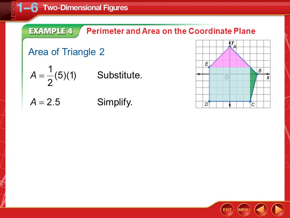 Example 4 Perimeter and Area on the Coordinate Plane Substitute. Simplify. Area of Triangle 2