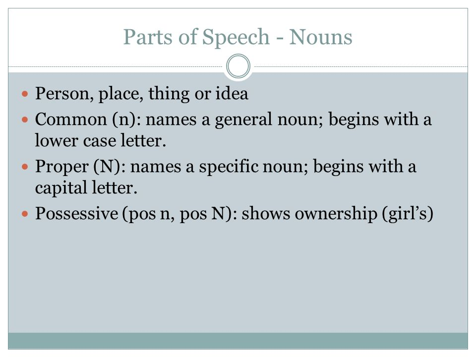 Parts of Speech - Nouns Person, place, thing or idea Common (n): names a general noun; begins with a lower case letter. Proper (N): names a specific n