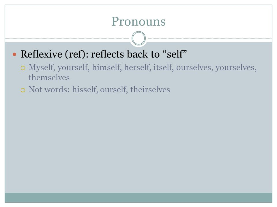 Pronouns Reflexive (ref): reflects back to self Myself, yourself, himself, herself, itself, ourselves, yourselves, themselves Not words: hisself, ours