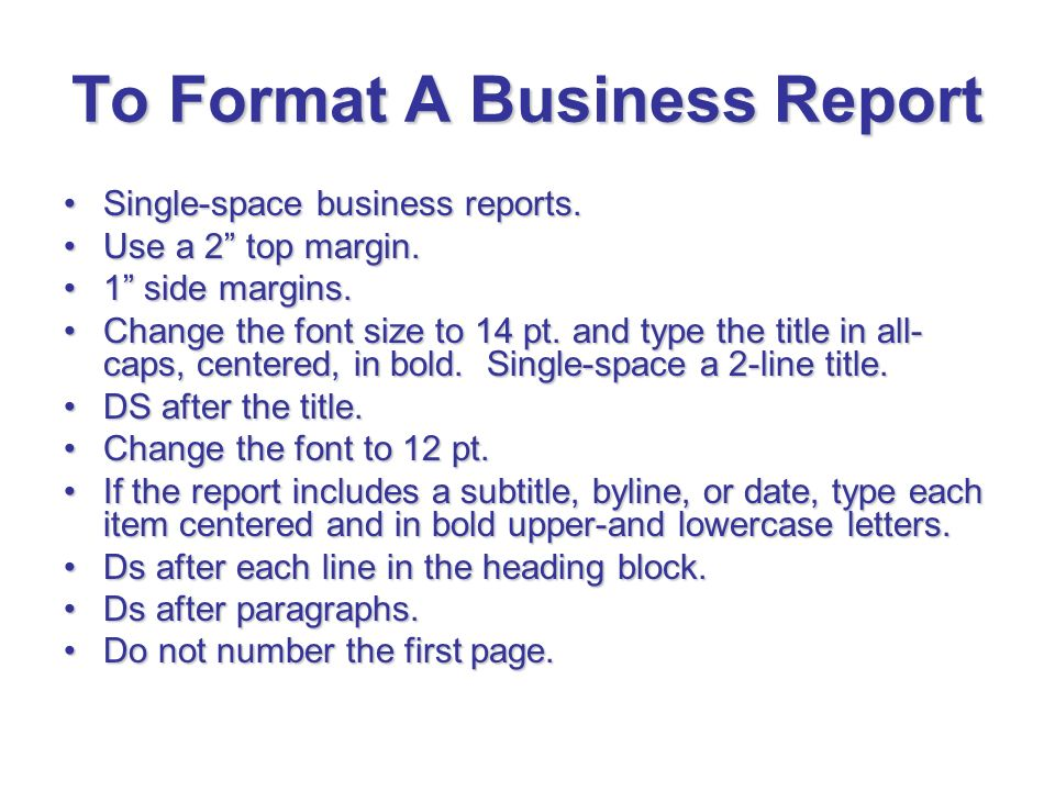 Doc680832 Format of a Business Report 17 Business Report – Format for a Business Report