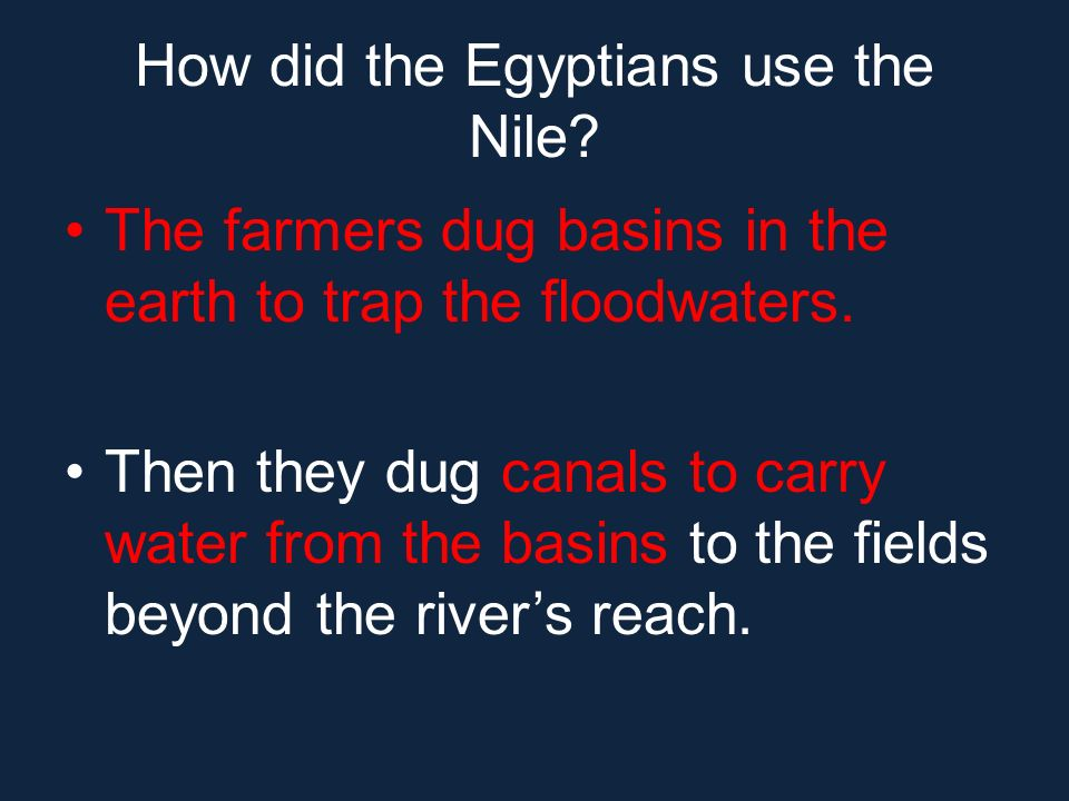 How did the Egyptians use the Nile? The farmers dug basins in the earth to trap the floodwaters. Then they dug canals to carry water from the basins t