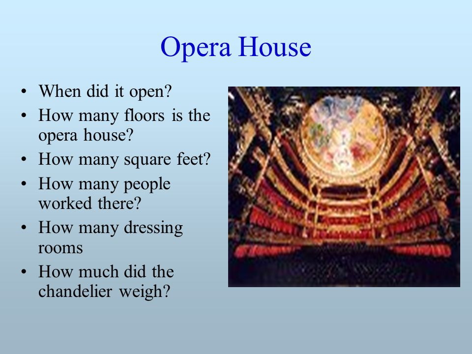 Opera House When did it open. How many floors is the opera house.