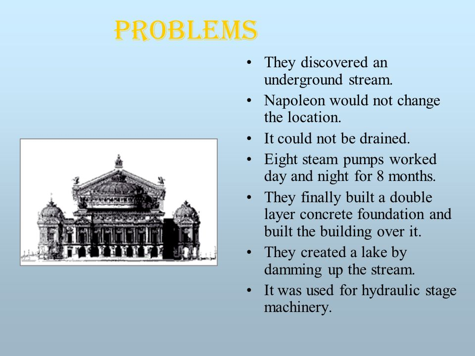 Problems They discovered an underground stream. Napoleon would not change the location.