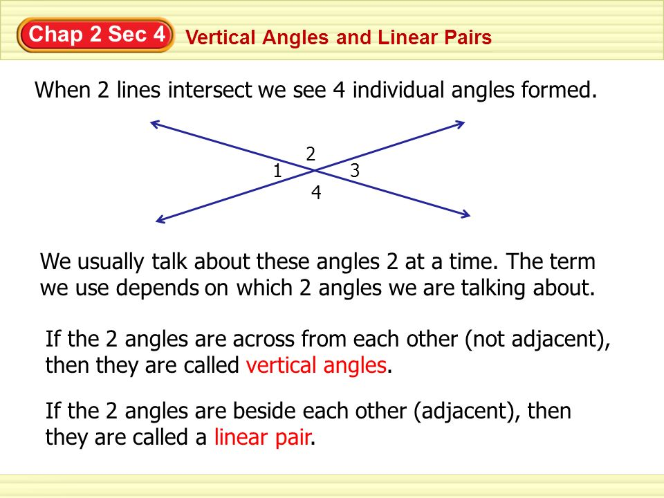 Chap 2 Sec 4 Vertical Angles and Linear Pairs When 2 lines intersect we see 4 individual angles formed. 1 2 3 4 We usually talk about these angles 2 a