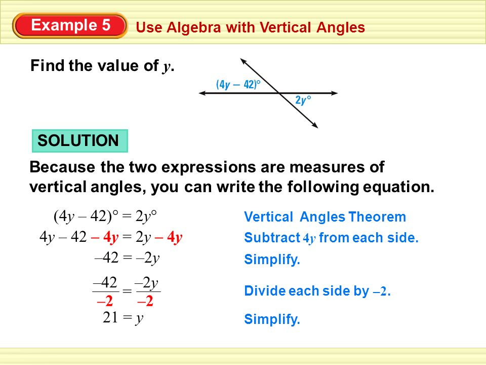 Example 5 Use Algebra with Vertical Angles Find the value of y. SOLUTION Because the two expressions are measures of vertical angles, you can write th