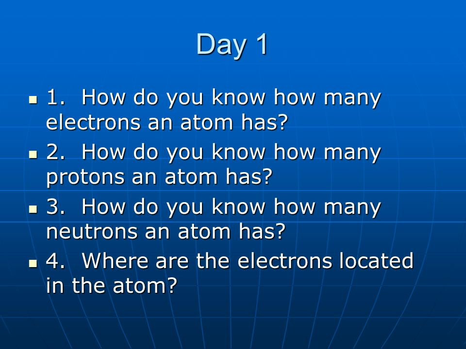 Day 1 1. How do you know how many electrons an atom has? 1. How do you know how many electrons an atom has? 2. How do you know how many protons an ato