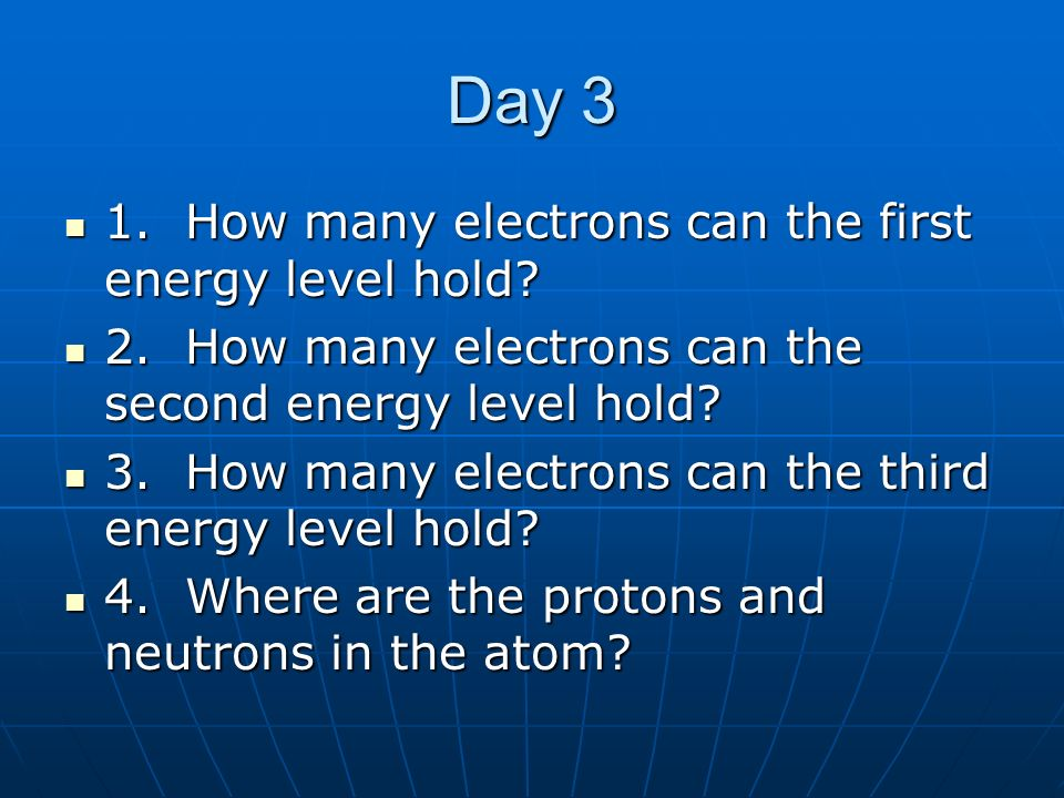 Day 3 1. How many electrons can the first energy level hold? 1. How many electrons can the first energy level hold? 2. How many electrons can the seco