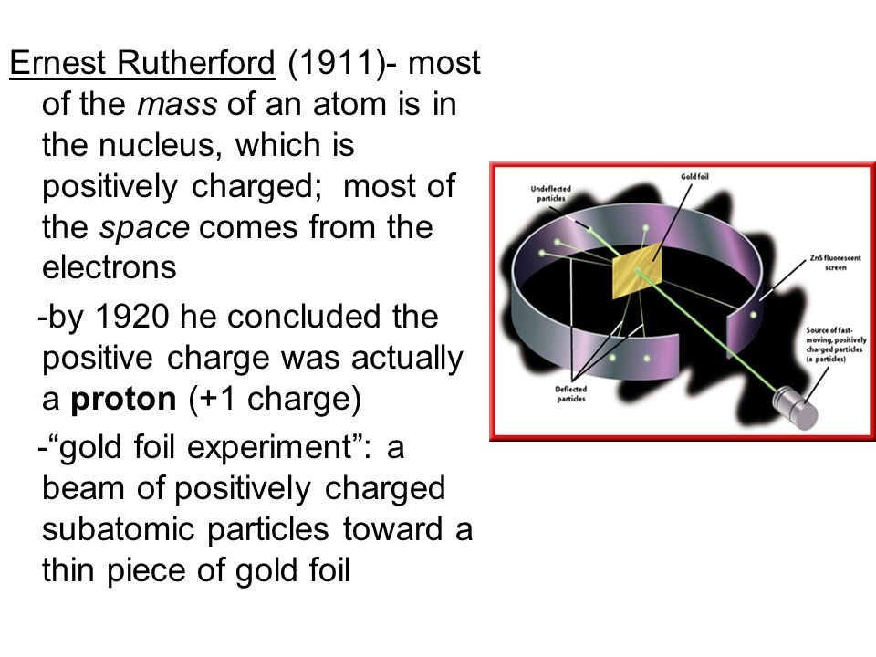 Ernest Rutherford (1911)- most of the mass of an atom is in the nucleus, which is positively charged; most of the space comes from the electrons -by 1