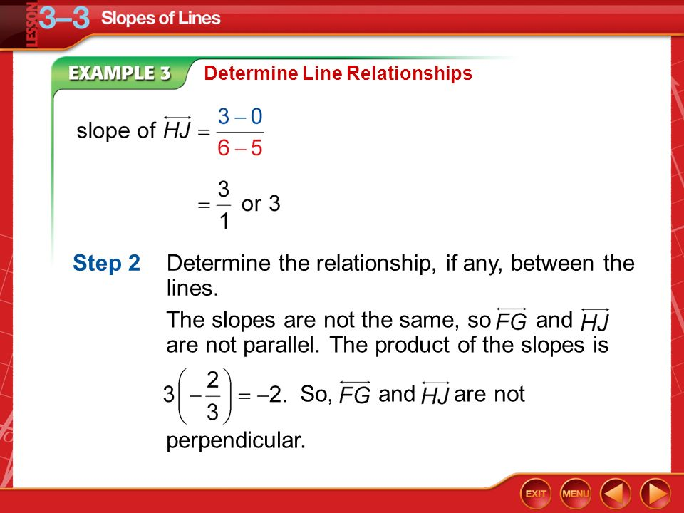 Example 3 Determine Line Relationships Step 2Determine the relationship, if any, between the lines.