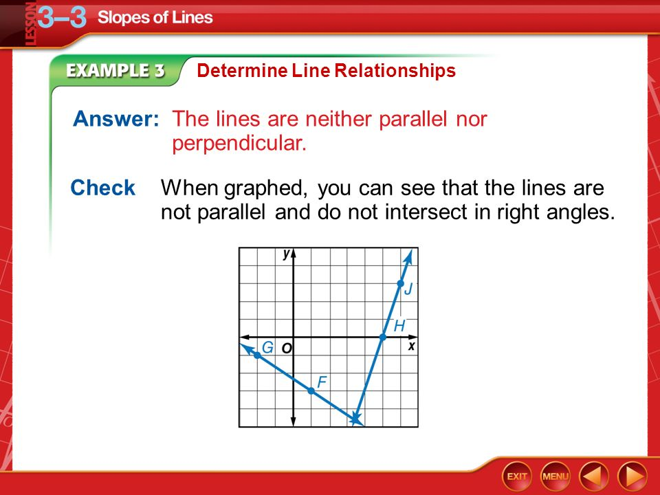 Example 3 Determine Line Relationships Answer:The lines are neither parallel nor perpendicular.
