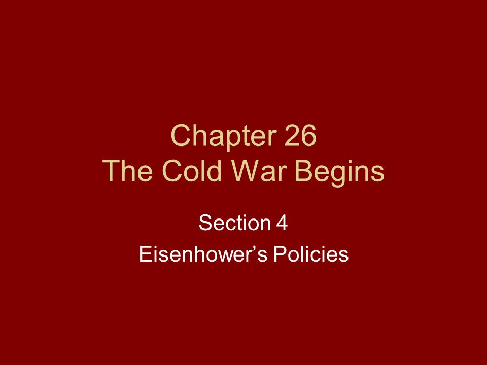 Beginning Cold Chapter 26 The Cold War Begins