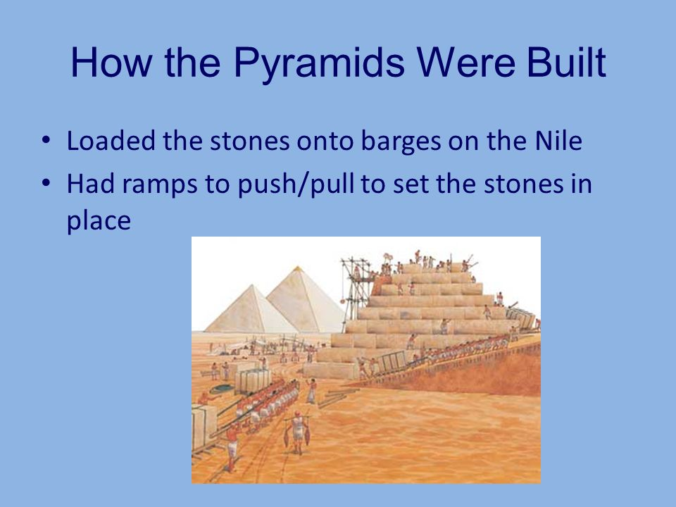 How the Pyramids Were Built Loaded the stones onto barges on the Nile Had ramps to push/pull to set the stones in place