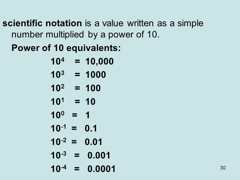 30 scientific notation is a value written as a simple number multiplied by a power of 10. Power of 10 equivalents: 10 4 = 10,000 10 3 = 1000 10 2 = 10